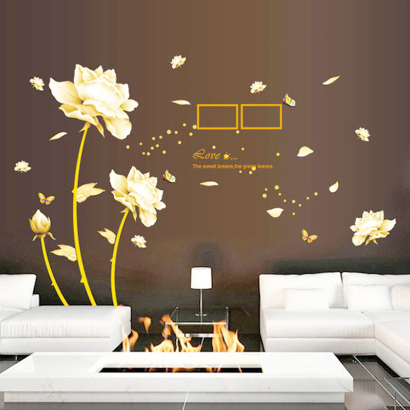 gold flowers butterfly stickers english letter wall decals living room bedroom study sofa decorative wall decal