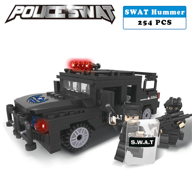Police station SWAT hummer car soldiers Military Series 3D Model building blocks compatible with