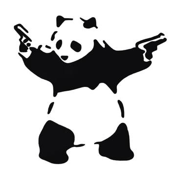 Lovely Panda with Two Guns 3D Car Sticker Automobiles Truck Window Reflective Decal Bumper Funny Cute Animal Stickers Decoration image