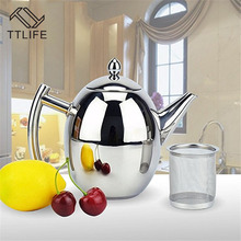 TTLIFE Stainless Steel 1L/1.5 Coffee Pot With Strainer Durable Teapot Water Kettle Household Kitchen coffeeware Tea Tool