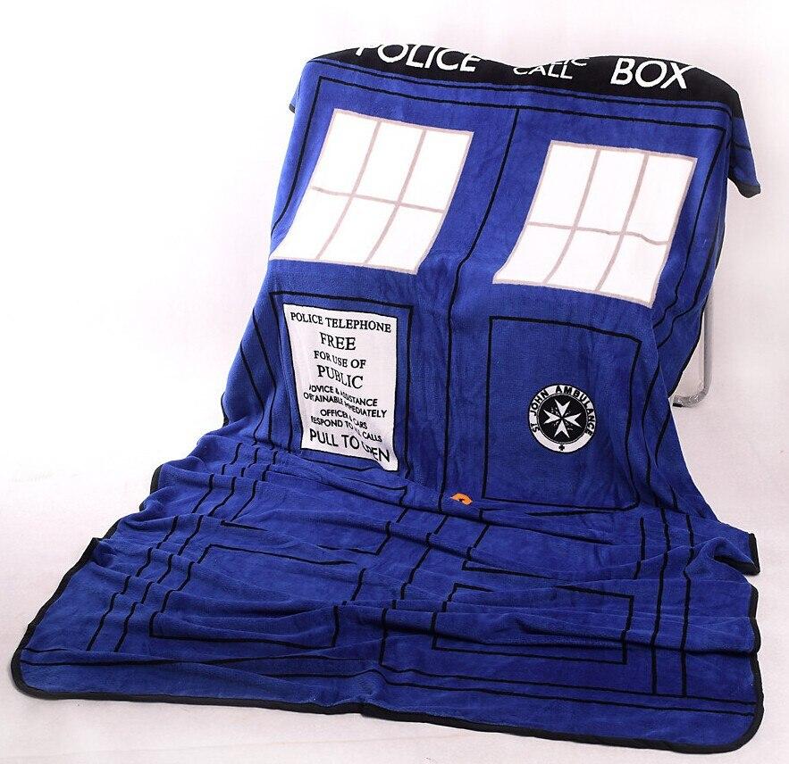 Médecin Qui Cosplay TARDIS Couvertures Corail Polaire Boîte de Police Cosplay Tapis de Jet Couvertures Bleu Drap de Lit 127*226 cm livraison Gratuite