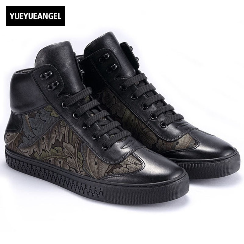 Fashion Brand High Top Sneakers Men Fall Winter Genuine Leather Warm Cotton Shoes Flower Print Black Casual Shoes Mens Flats nt00024 5 men s casual warm nubuck cotton sneaker shoes black 44 pair