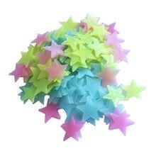 100 шт./лот светящиеся настенные наклейки, наклейки для детской спальни, домашний декор, цветные флуоресцентные светящиеся звезды, 4 цвета s