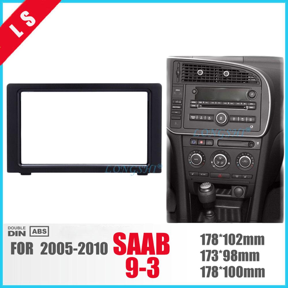 LONGSHI Fabulous Double Din Car Radio Fascia Frame for 2010 SAAB 93 9-3 DVD Panel Stereo Player Outter Frame Trim Bezel 2din