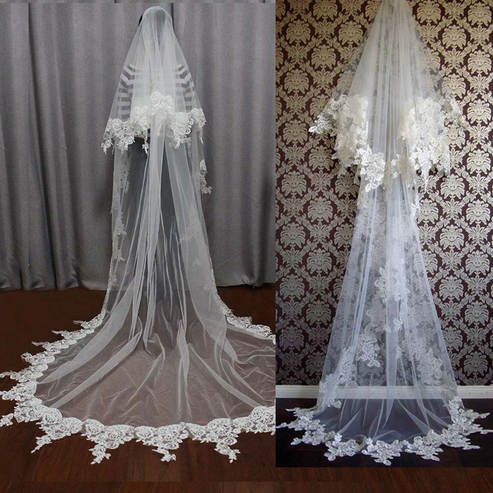 New Arrival Lace Edge Wedding Veil 2 Layers Long White Ivory Soft Tulle Bridal Veil with Blusher Comb Wedding Accessories