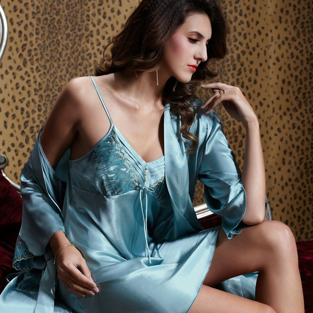 XIFENNI Brand Women Satin Silk Robe Sets Two-Piece Sleepwear Softness Sexy Lace V-Neck Thin Bathrobes High Quality 20241