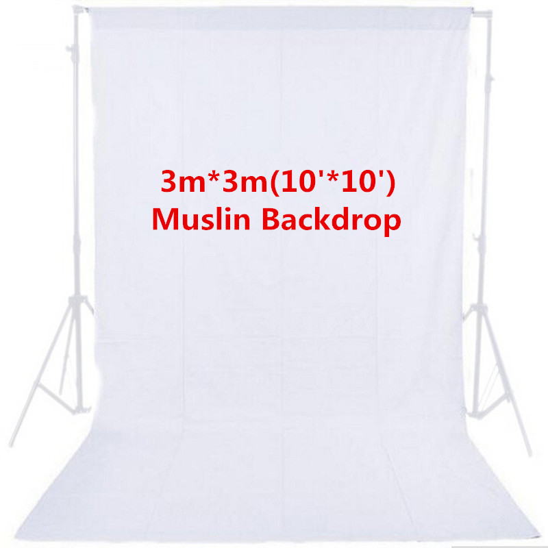 Photo Studio Photography 10ft x 10ft 3m x 3m Studio Solid Background White Muslin Backdrop 100