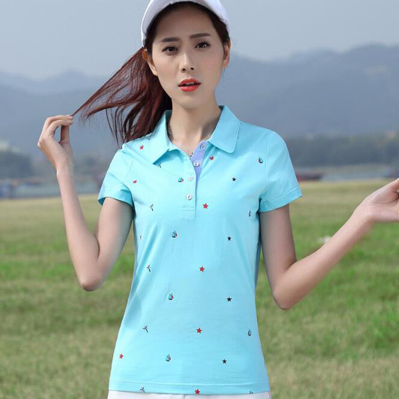 New Style Womens Outdoor Sports Shirts Cute Print Cotton Short Sleeve Golf Shirts Breathable Fitness Polo Shirts Tops