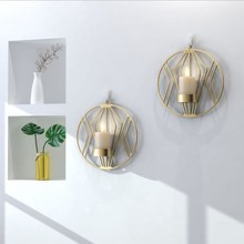 Geometric Round Wall Hanging Candlestick Decoration Ornaments Three-dimensional Creative Metal Home