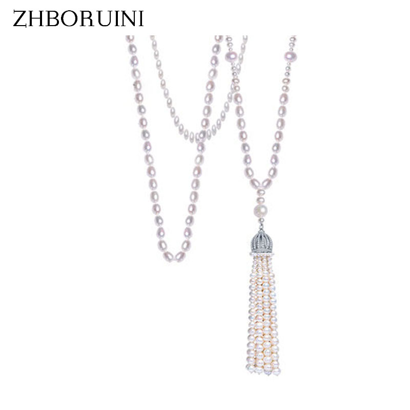 ZHBORUINI 2017 Fashion Long Pearl Necklace Natural Freshwater Pearl Tassels Necklace Women Necklace Jewelry For Women Gift zhboruini fashion long multilayer pearl necklace freshwater pearl tassels women accessories statement necklace jewelry for women