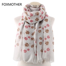 FOXMOTHER New Dog Cat Paw Print Scarf With Fringe Scarves For Pet Lovers Wrap Shawl Women Foulard Ladies Dropshipping