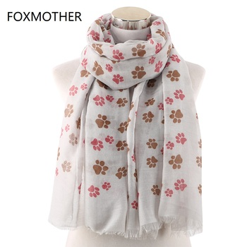 FOXMOTHER New Dog Cat Paw Print Scarf With Fringe Scarves For Pet Lovers Wrap Shawl Women Foulard Ladies Dropshipping foxmother new vintage pink white cat foulard femme animal cat scarves for cat lover mother gifts scarfs dropshipping