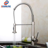 SOGNARE Nickel Brushed Pull Out Kitchen Faucets With Deck Plate Escutcheon Copper Pull Down Kitchen Tap