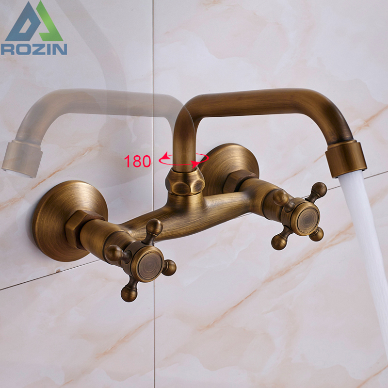 Antique Brass Kitchen Sink Faucet 360 Swivel Spout Hot And Cold Bathroom Kitchen Mixer Crane Mop Pool Taps Dual Handle Faucet