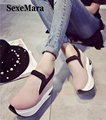 SexeMara New 2016 Autumn Women Creepers Platform Shoes Woman Slip-on PU High Top Thick Sole Wedges Casual Shoes Flats S022