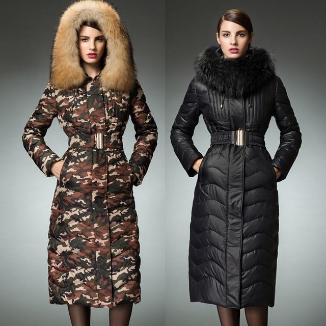 8b6ba05910e 2015 Long Maxi Down Coat Forest Camouflage Long Parkas Winter Jacket Women  Winter Coat Women Outerwear with Raccoon Fur Hood 026