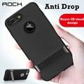 Para iphone 7 plus case rock royce 3d soporte de chorro de diseño negro ultra-fino de metal textura capas doble protección para iphone 7 cubierta