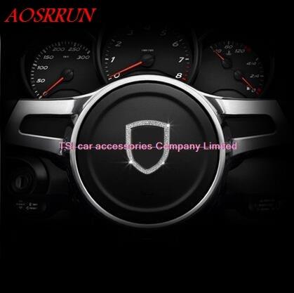 Steering wheel decorative sequins modified car decoration 3D sticker for Porsche macan S turbo cayenne Panamera S 911 Boxste