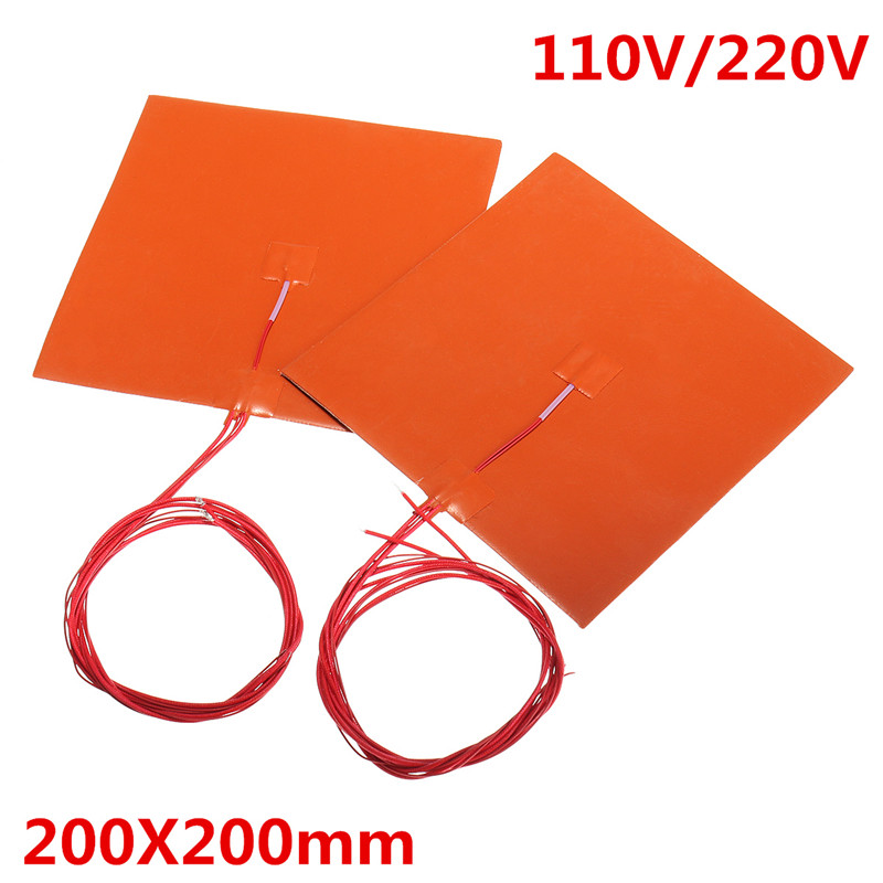 200x200mm 110 v 220 v 200 w Silicone Cama Aquecida Almofada de Aquecimento w Termistor para Impressora 3D peças de Almofadas de Aquecimento Elétrico