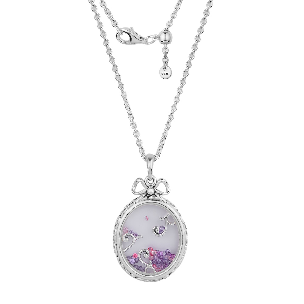 High Quality DIY Woman Necklaces & Pendants 925 Sterling Silver Jewelry Locket Of Dazzle Necklace, Multi-Colored CZ Necklaces