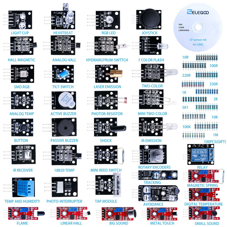 37-en-1 sensor Module Kit pour Arduino UNO R3, MEGA, NANO Avec Cadeau