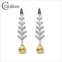 VVS citrine wheat ear drop earrings 7 mm * 9 mm pear cut natural citrine eardrop 925 sterling silve r citrine wedding jewelry