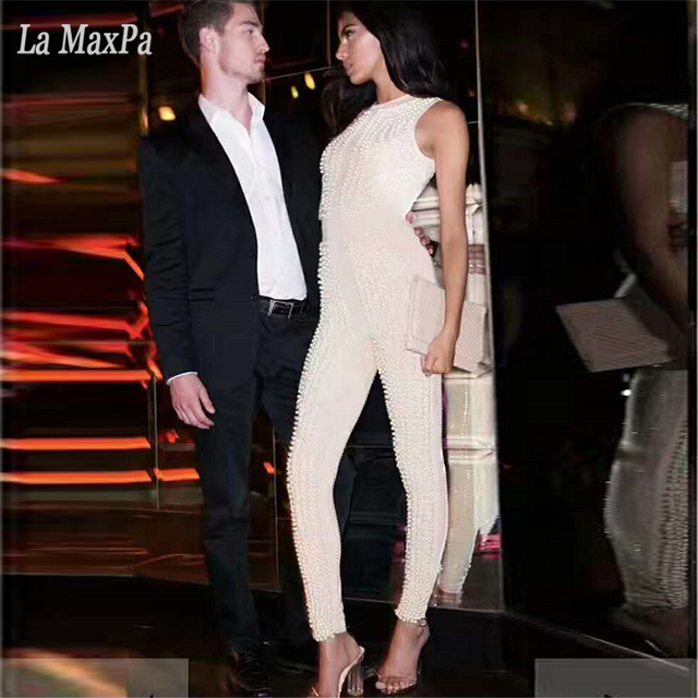 6b4c17a8bb73 2017 New summer women sleeveless o neck jumpsuit sexy bodycon beading evening  party beige black jumpsuits