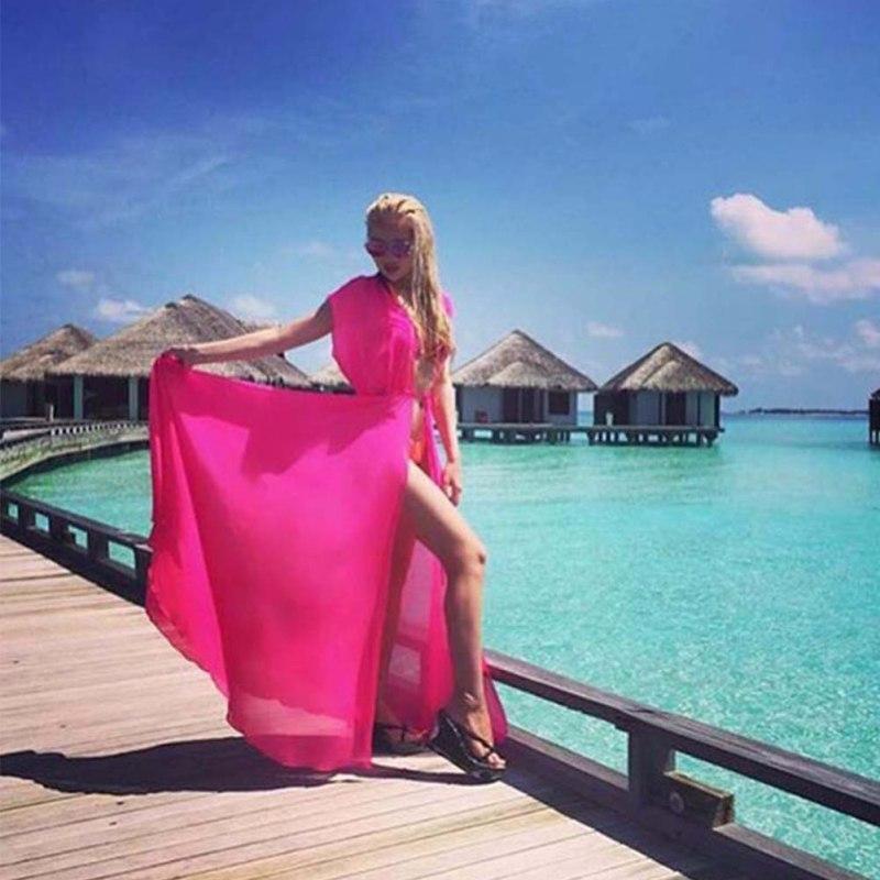 Парео пляжное покрывало Цветочная вышивка бикини накидка купальник женский халат пляжный кардиган купальный костюм накидка - Цвет: Hot Pink No Sleeve