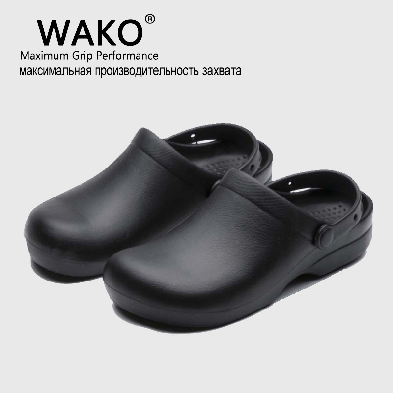 WAKO Professional Chef/Hospital Work Anti-slip EVA Surgical Shoes Men Cook Shoes Surgery Scrubreathable Shoes Black Shoe