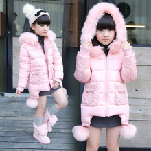 Kids women 2016 winter fashions cotton jacket Girls large boy real lengthy part of untamed cotton hooded fur collar tide