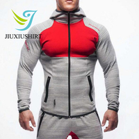 JINXIUSHIRT Muscle Men Compression Sport Suit Hooded Tights Skins Basketball Shirts Pants For Gym Fitness Zipper