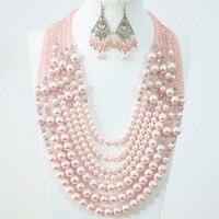 Красивая 7 ряда ожерелье серьги розовый круглый имитация оболочки жемчужина стеклянные abacus бусины уникальный дизайн женщины ювелирные изд...