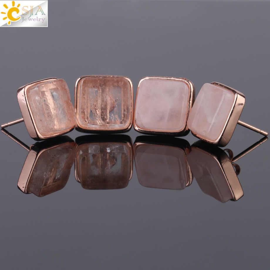 CSJA, pendientes cuadrados de piedras naturales, pendientes de cristal de cuarzo rosa dorado para mujer, pendientes de moda para chicas, joyería Brincos G036