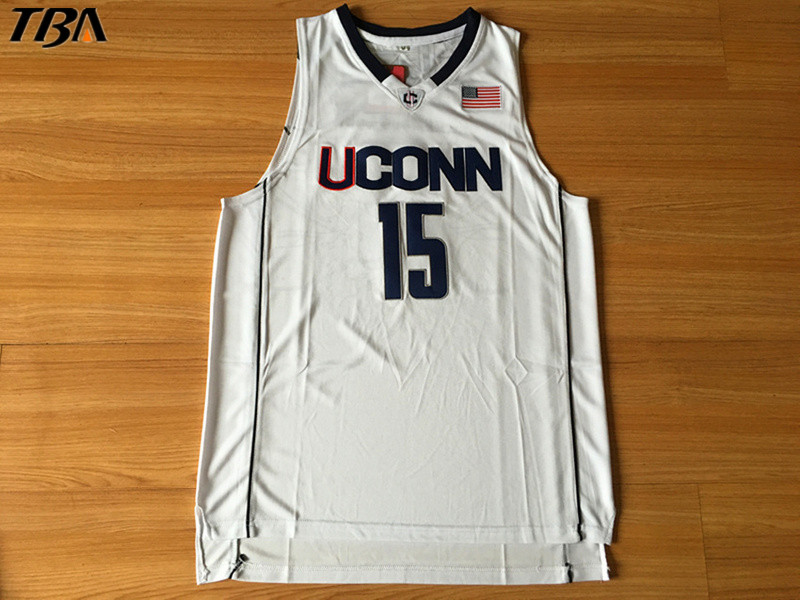 2017 TBA New Uconn Man #15 Huskies Kemba Walker Home White Black Basketball Jersey Embroidery Logos College basketball Jersey