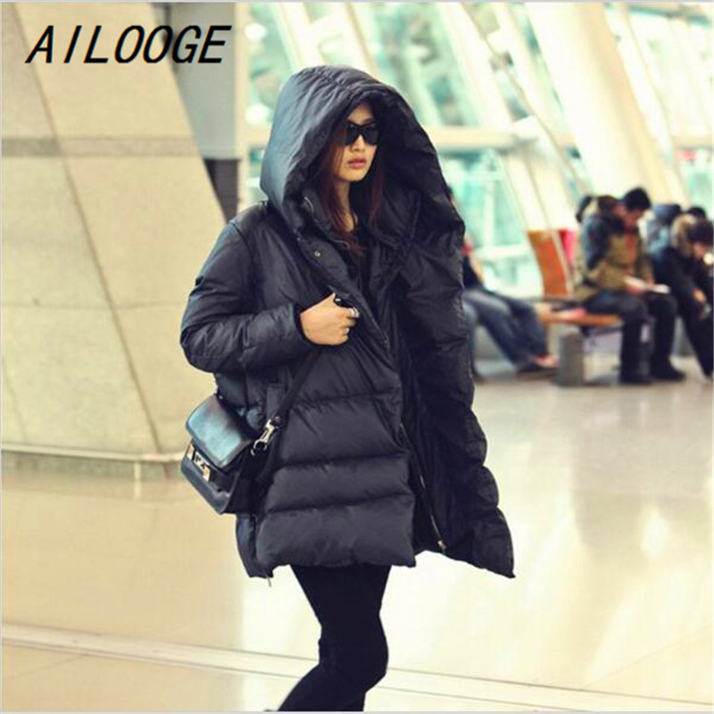 AILOOGE Winter Plus Size 5XL Jacket Women Medium-Long Hooded Casual Warm Parkas Coat Thick White Duck Down Jacket Casaco Feminin 2015 new hot winter thicken warm woman down jacket coat parkas outerwear hooded loose straight luxury brand long plus size xl