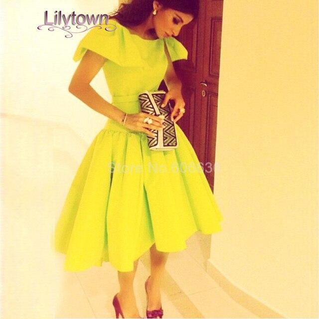 Ball Gown Scoop Neckline Short Sleeve Mid Calf Length Pleat Plus Size  Custom Made Cocktail Dress 2083b25c3a8e