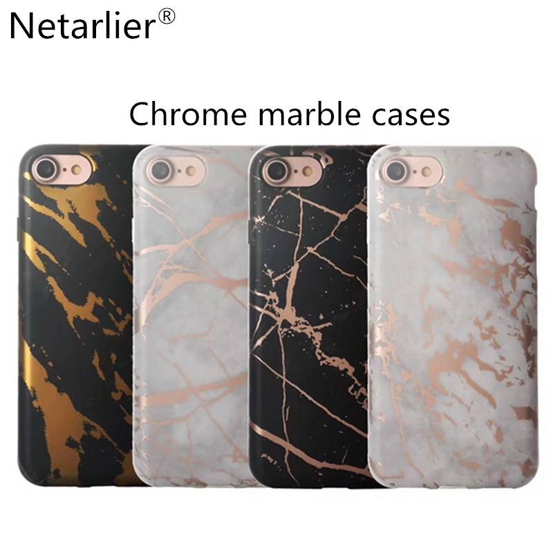 super popular e897c deeb9 US $4.99 |Netarlier Newest Black White Rose Gold Chrome Marble Phone Case  For Iphone 6 6s Plus 7 7Plus Luxury High Quality Thick TPU Cover-in Fitted  ...
