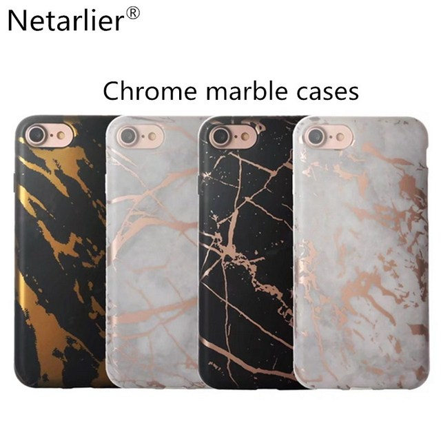 super popular b1c11 4b0de US $4.99 |Netarlier Newest Black White Rose Gold Chrome Marble Phone Case  For Iphone 6 6s Plus 7 7Plus Luxury High Quality Thick TPU Cover-in Fitted  ...