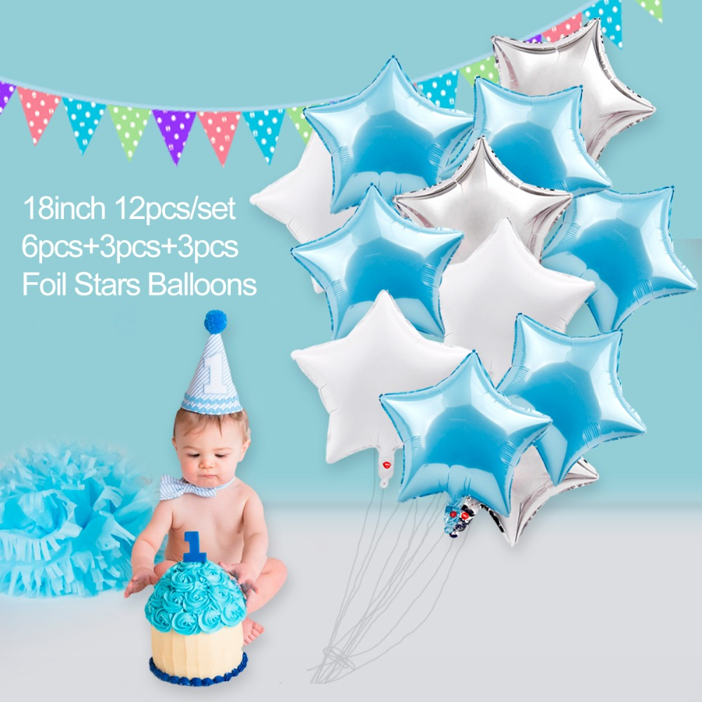 FENGRISE Blue 1st Birthday Party Decorations One Year Baby