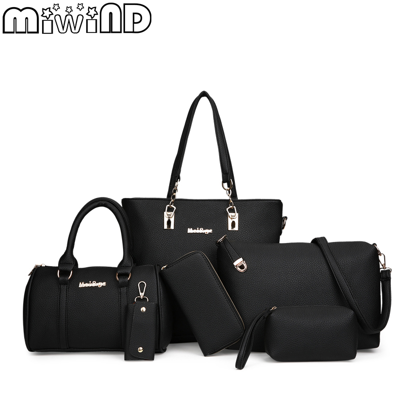 MIWIND 2018 New Fashion Women Bag High Quality Women's Handbags Female Shoulder Bags PU Leather 6-Piece Set Composite Bag miwind new fashion leather handbags high quality women shoulder bags buy one get another free full set 6 pieces more favorable