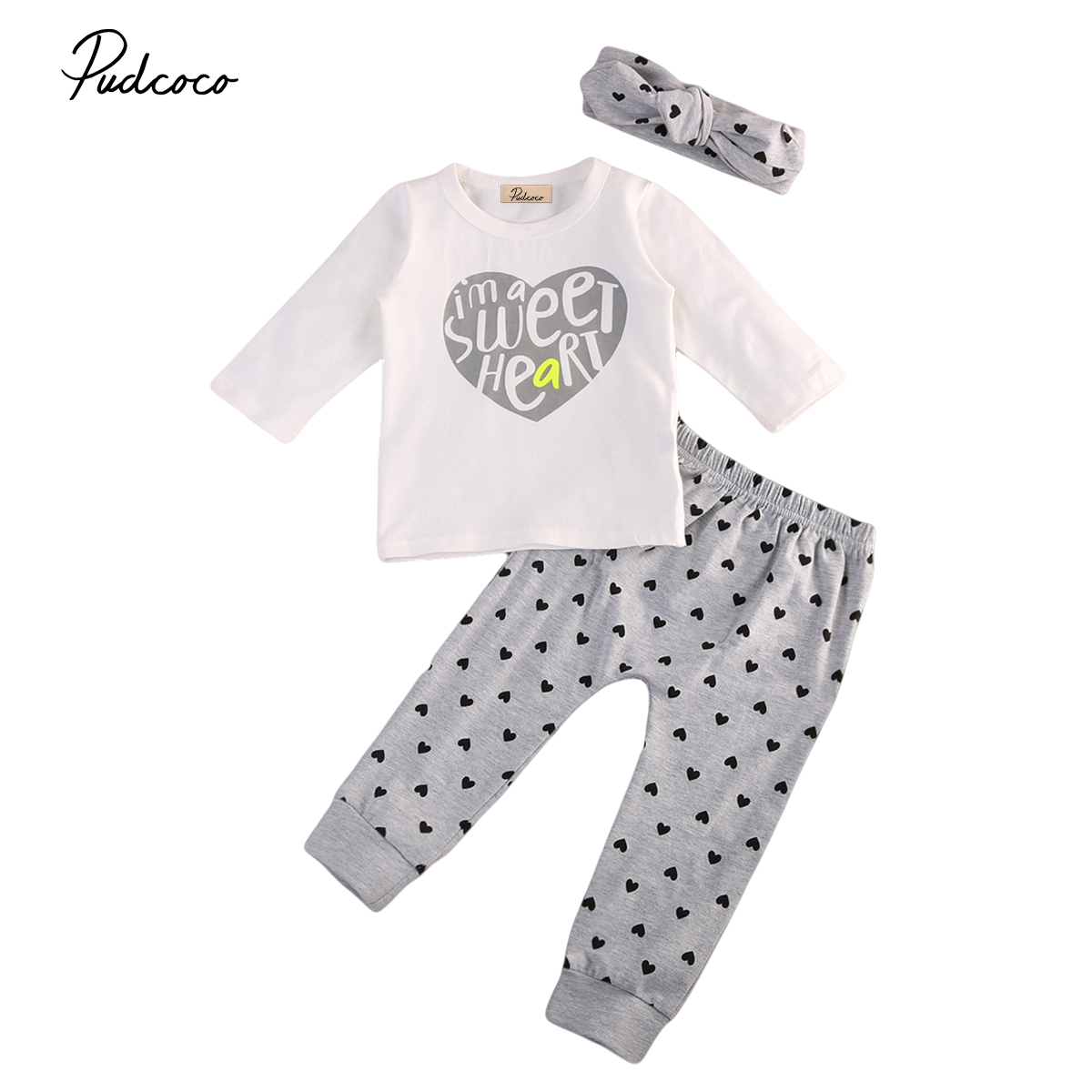 Cotton Newborn Baby Girl Heart Print Tops Long Sleeve T-shirt Leggings Pants 3PCS Outfit Set Winter Autumn Girls Clothes