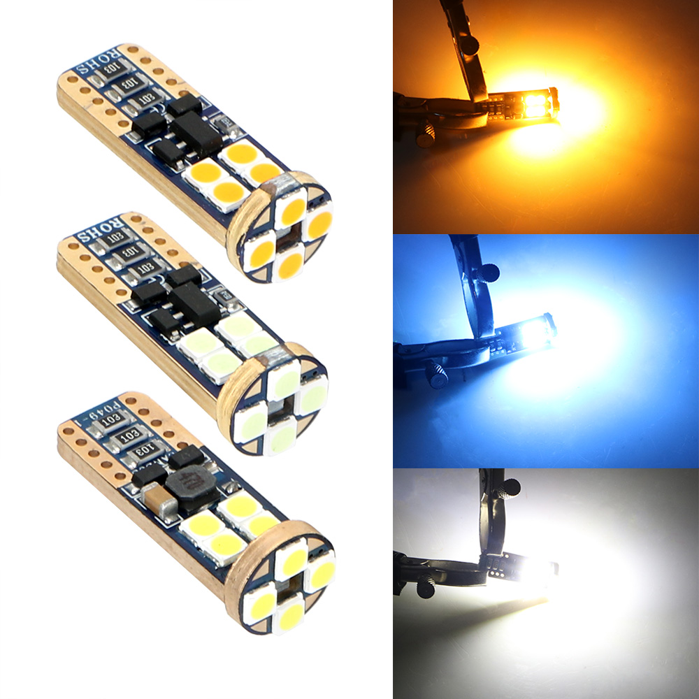 DC 12V 3030 <font><b>12</b></font> <font><b>SMD</b></font> Wedge Lamp Reading Light White Blue Yellow Auto Interior Light T10 194 W5W Canbus Car LED Bulbs Error Free image