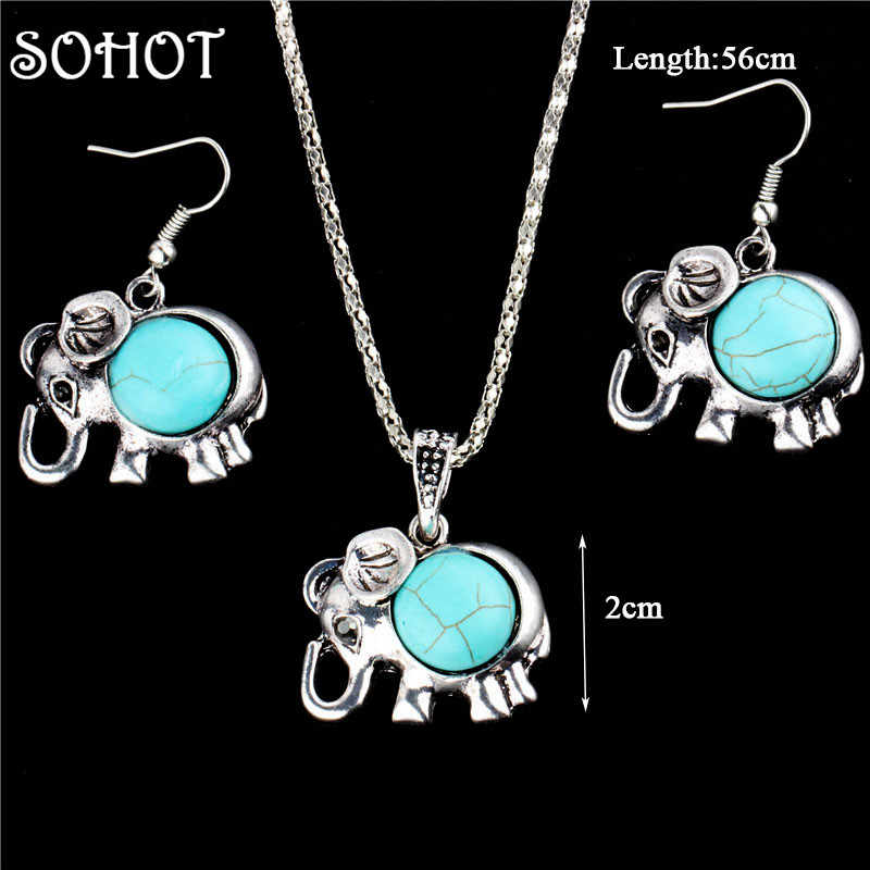 SOHOT Vintage Bohemian Natural Stones Elephant Pendant Necklace Dangle Earrings Jewelry Sets Accessories Silver Color Women Gift