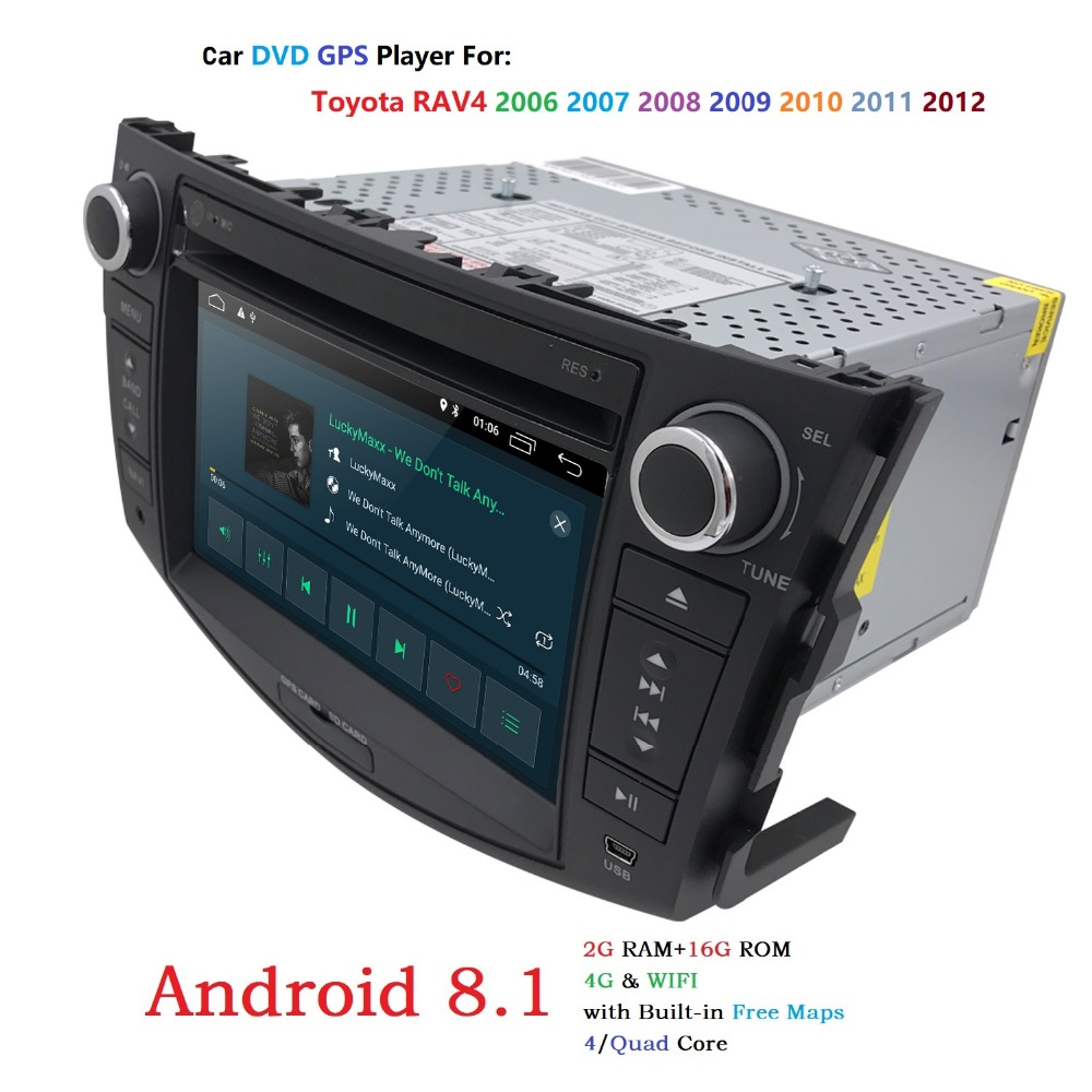 Quad Core 1024*600 HD Screen 2 Din Android 8.1 Car DVD for Toyota Rav 4 RAV4 Audio Video Stereo GPS Navigation Radio RDS 4G Wifi