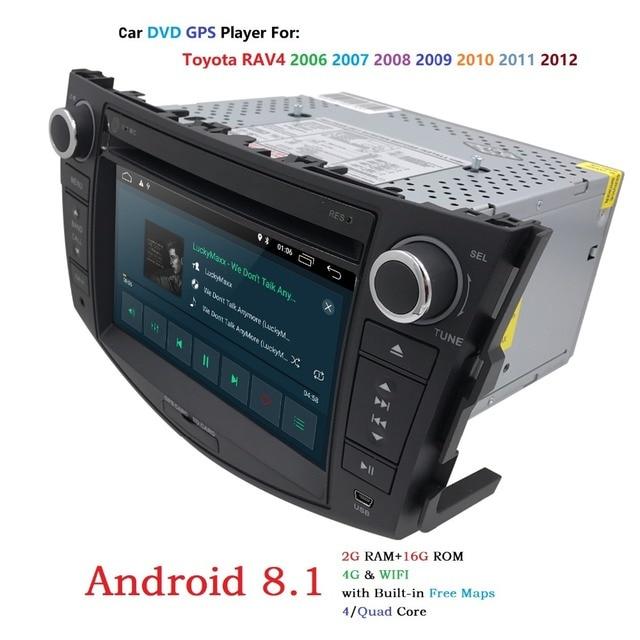 Quad Core 1024*600 HD Screen 2 Din Android 8.1 Car DVD for Toyota Rav 4 RAV4 Audio Video Stereo GPS Navigation Radio RDS 4G Wifi