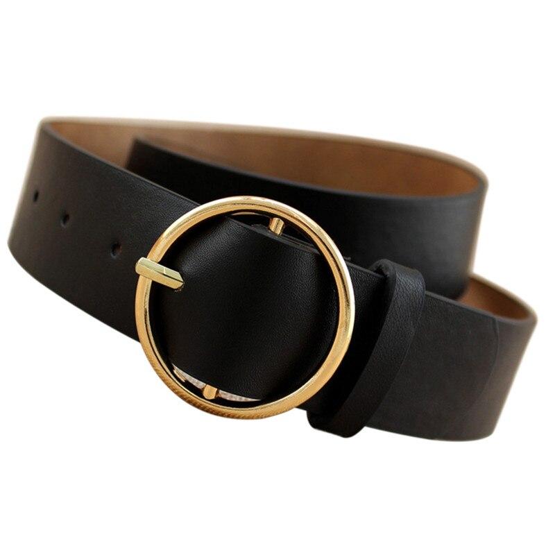 Women Waist   Belt   Simple Metal   Belt   Female Gold Round Buckle Ladies   Belts   Strap Students   Belts   For Women