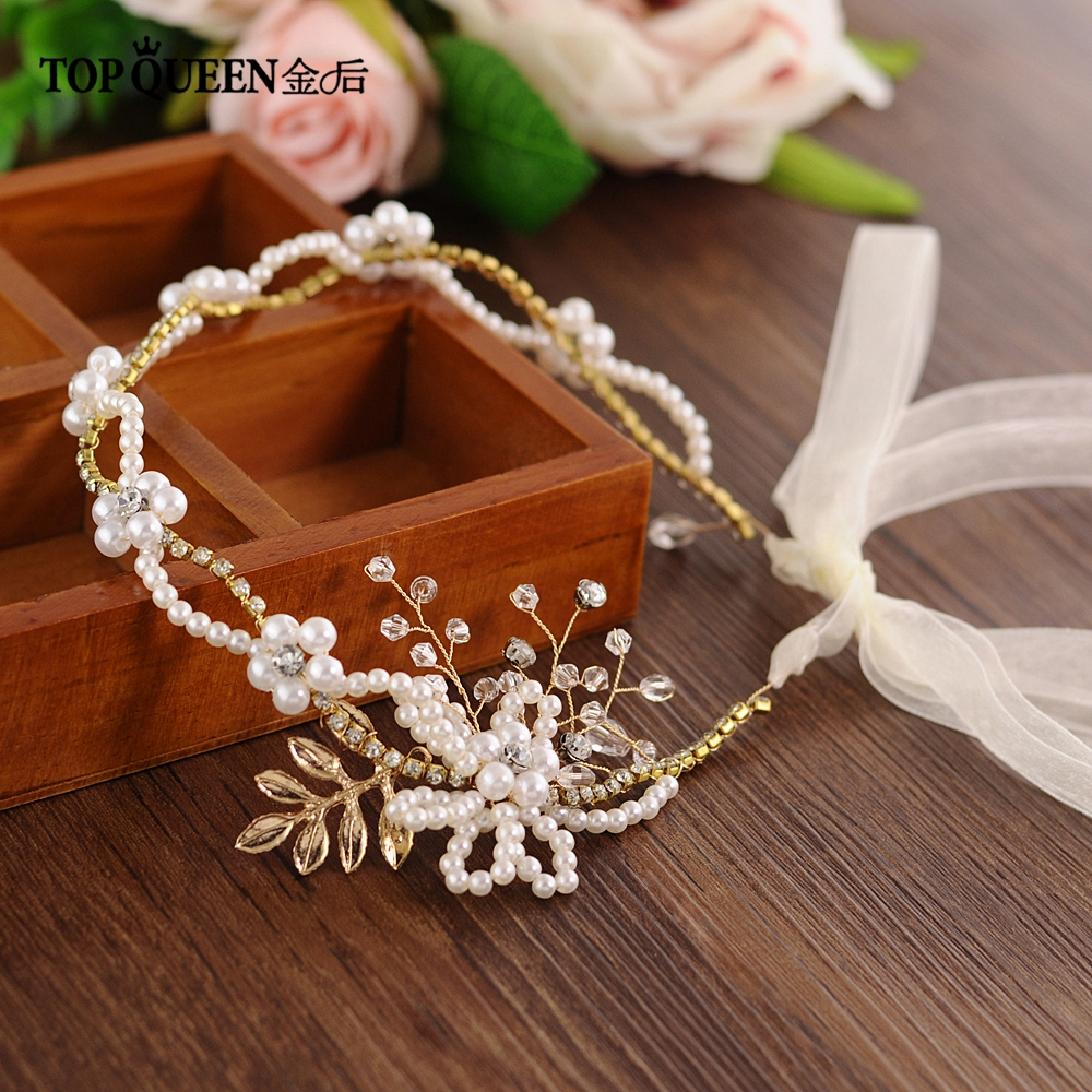 TOPQUEEN HP146 Luxury Pearl Beaded Star And Alloy Leaf Wedding Hair Accessories Bridal Headpiece Bridal Tiara Handmade Headbands
