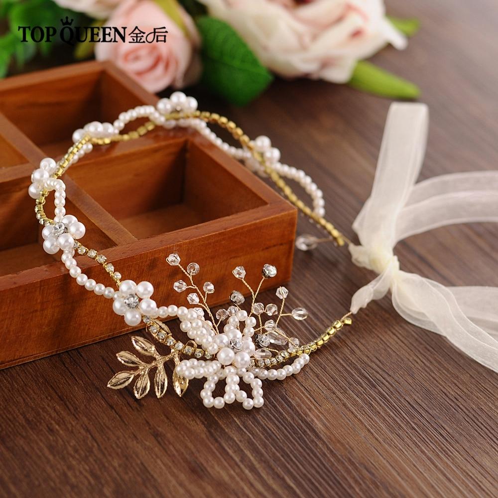 TOPQUEEN Luxury White Beaded Wedding Headband Golden Alloy Leaf Wedding Hair Accessories Bridal Headpiece Bridal Tiara HP146