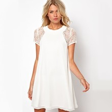 Spring Summer font b Dress b font Women Short Sleeve White Black Sexy Sweet Lace Sleeve