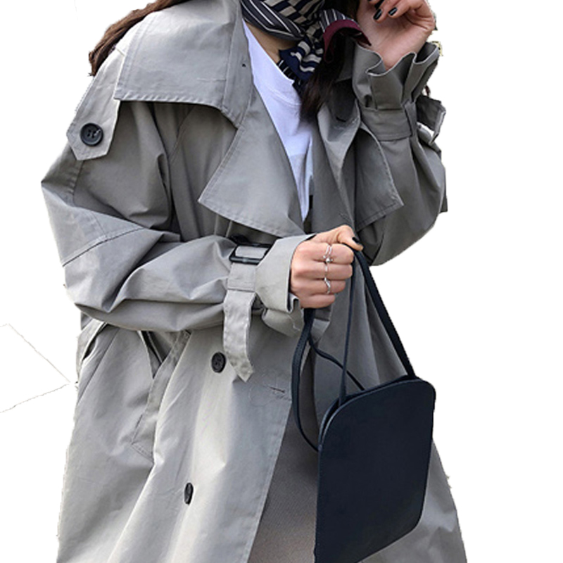 Abrigos Spring Autumn 18 Korean Fashion Double Breasted Mid-long Trench Coat Mujer Loose Belt large size Windbreak Outwear 4